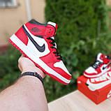 Жіночі кросівки в стилі Nike Air Jordan 1 Retro червоні з білим, фото 4