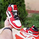 Жіночі кросівки в стилі Nike Air Jordan 1 Retro червоні з білим, фото 7