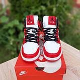 Жіночі кросівки в стилі Nike Air Jordan 1 Retro червоні з білим, фото 8