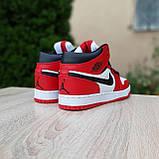 Жіночі кросівки в стилі Nike Air Jordan 1 Retro червоні з білим, фото 10