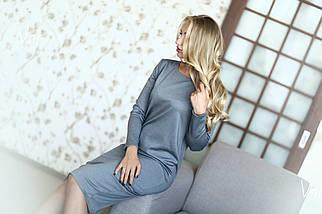 Платье прямого силуэта Серое  Батал  и норма 40, фото 2