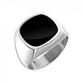 Перстень из родированного серебра 925 пробы с чёрной эмалью для мужчины