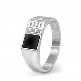 Перстень из родированного серебра 925 пробы с чёрнім ониксом и цирконами для мужчины