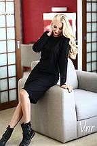 Аккуратное классическое платье прямого силуэта Черное  батал и норма 40, фото 3