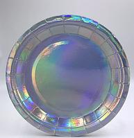 Тарелки праздничные цвет серебряно перламутровый (23 см) 10 штук