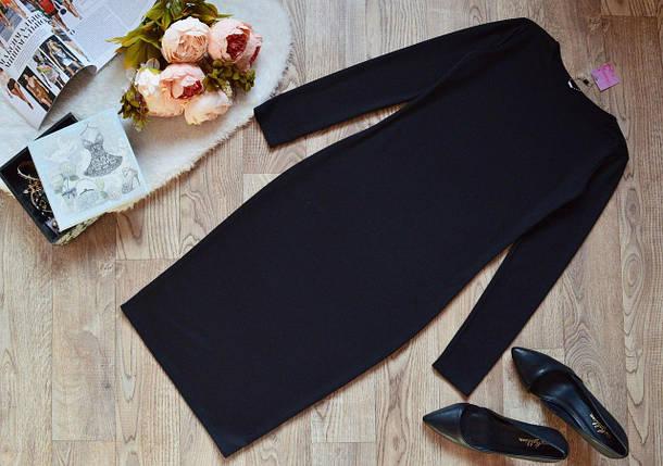 Аккуратное классическое платье прямого силуэта Черное  батал и норма 40, фото 2
