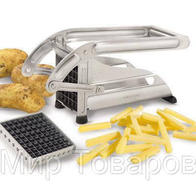 Подрібнювач овочів картофелерезка Potato Chipper сталева з 2 насадками для картоплі фрі