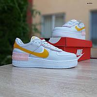 Женские кроссовки в стиле Nike Air Force 1 Shadow серые с желтым, фото 1