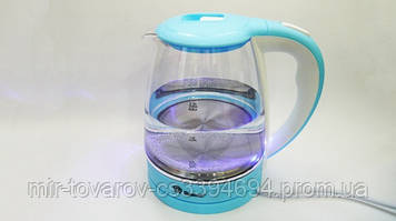 Электрочайник стеклянный Domotec MS-8214 на 2.2 литра Бело-голубой с LED подсветкой