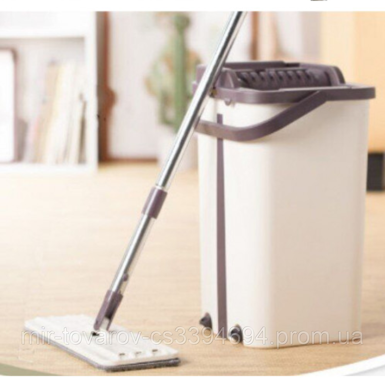 Швабра з відром з автоматичним віджимом Easy Mop | Комплект для прибирання Диво-швабра і відро з віджимом