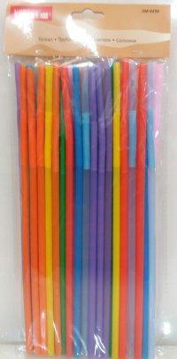 Трубочка пластиковая с изгибом разных цветов L 260 мм (уп 50 шт)