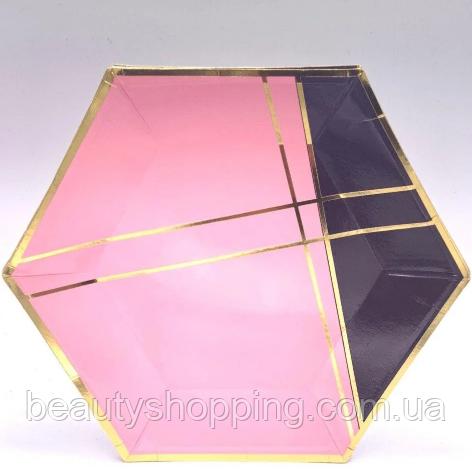 Тарелки праздничные цвет розово черный 10 штук