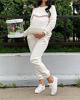 Универсальный костюм для беременных и кормящих мам цвет молоко с пудра вставкой