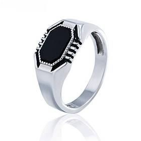 Перстень из родированного серебра 925 пробы с чёрным ониксом для мужчины