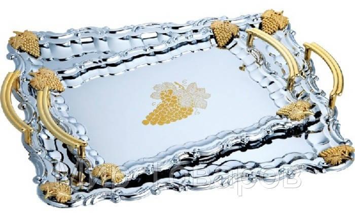 """Набор Поднос""""Виноград""""прямоугольный оцинкованный с ручками золотого цвета (наб=3 шт)"""