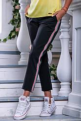 Женские летние свободные чёрные брюки р 44 костюмка