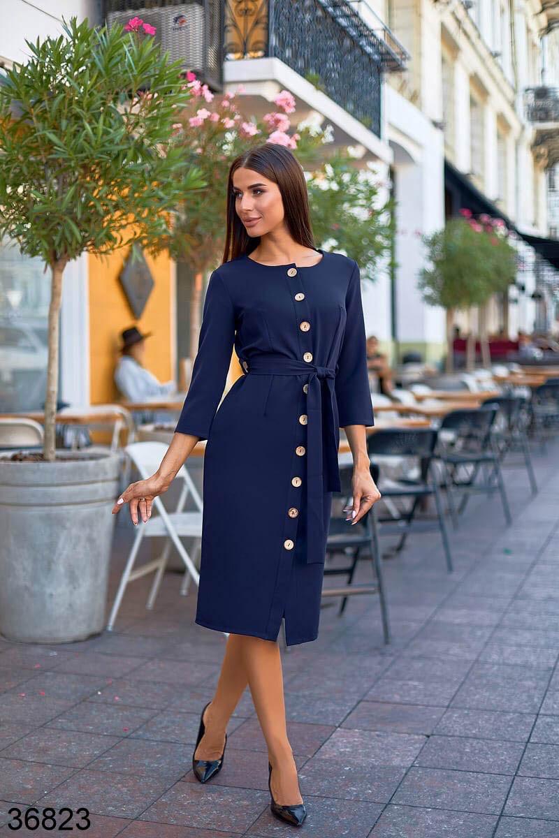 Синие женское платье миди на пуговицах р. 42, 44, 46, 48