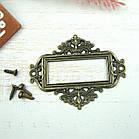 Декоративная рамка накладка бронза   5,5*4.5cм, фото 2