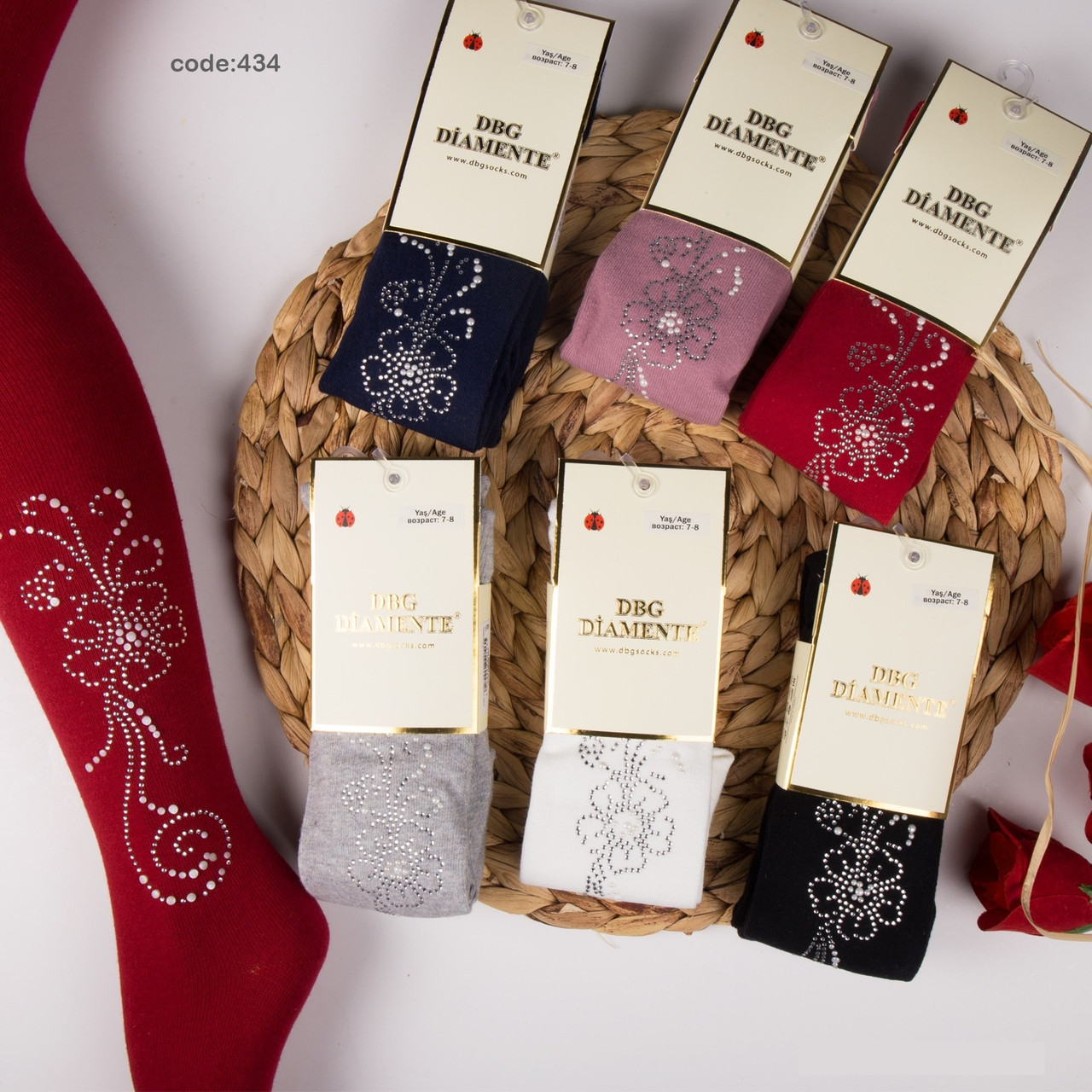 Колготки хлопковые для девочек р. 11-12 (146/152 ) см ТМ DBG Diamente (расцветки могут отличаться!)