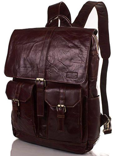 Прекрасная мужская сумка-рюкзак из кожи ETERNO (ЭТЕРНО) ET1017 темно коричневый