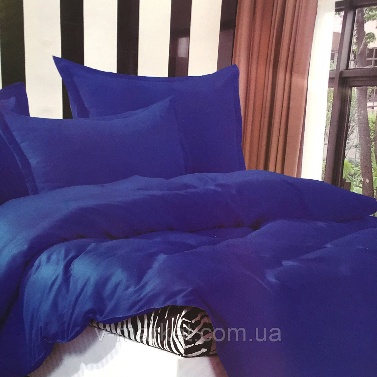 """""""Синий"""" комплект постельного белья двуспальный размер 180/220 см с большой евро простыней, ткань страйп-сатин"""