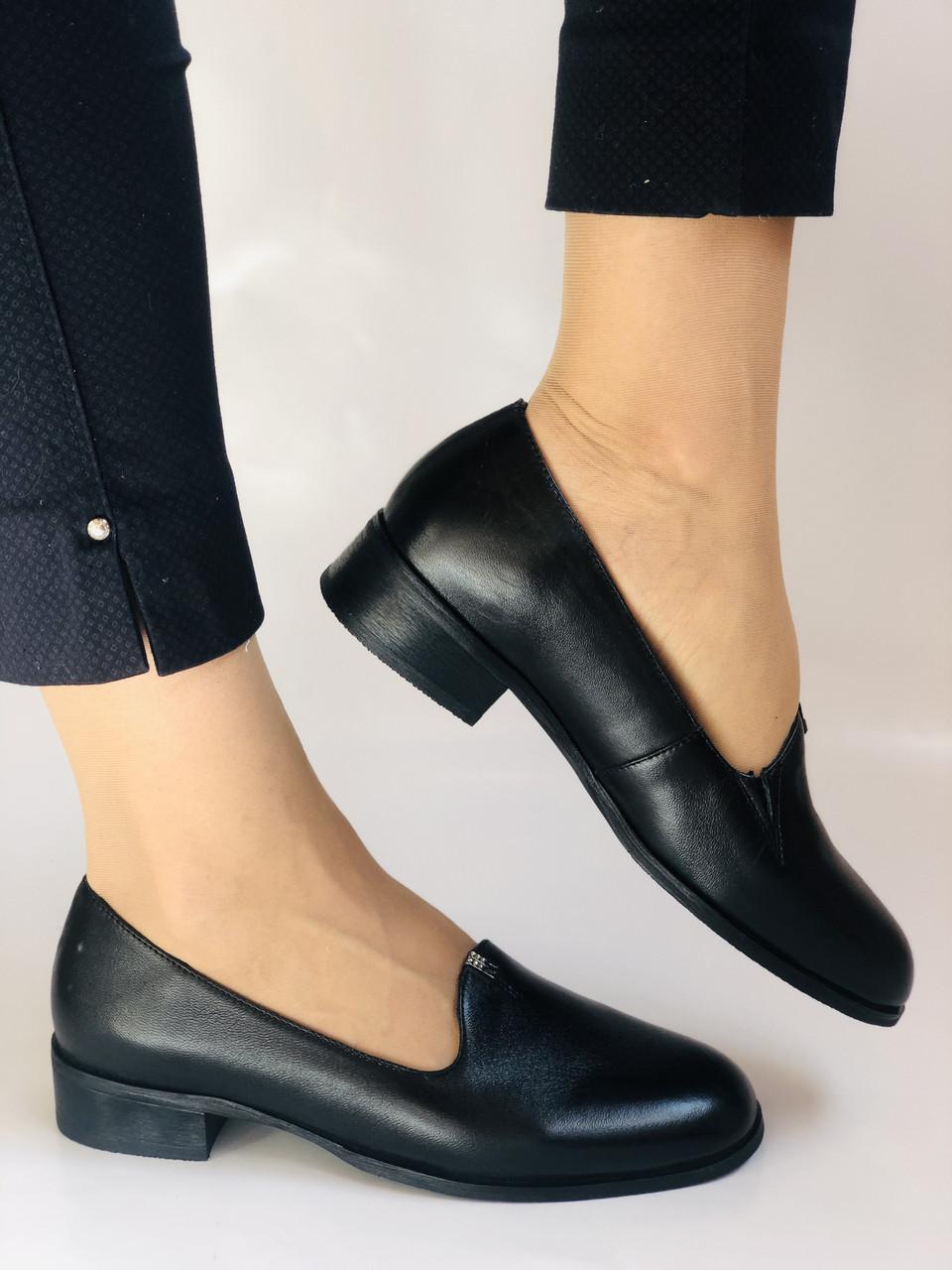 Polann. Жіночі туфлі-лофери на низькому каблуці. Натуральна шкіра. Р. 35, 36,37, 39, 40
