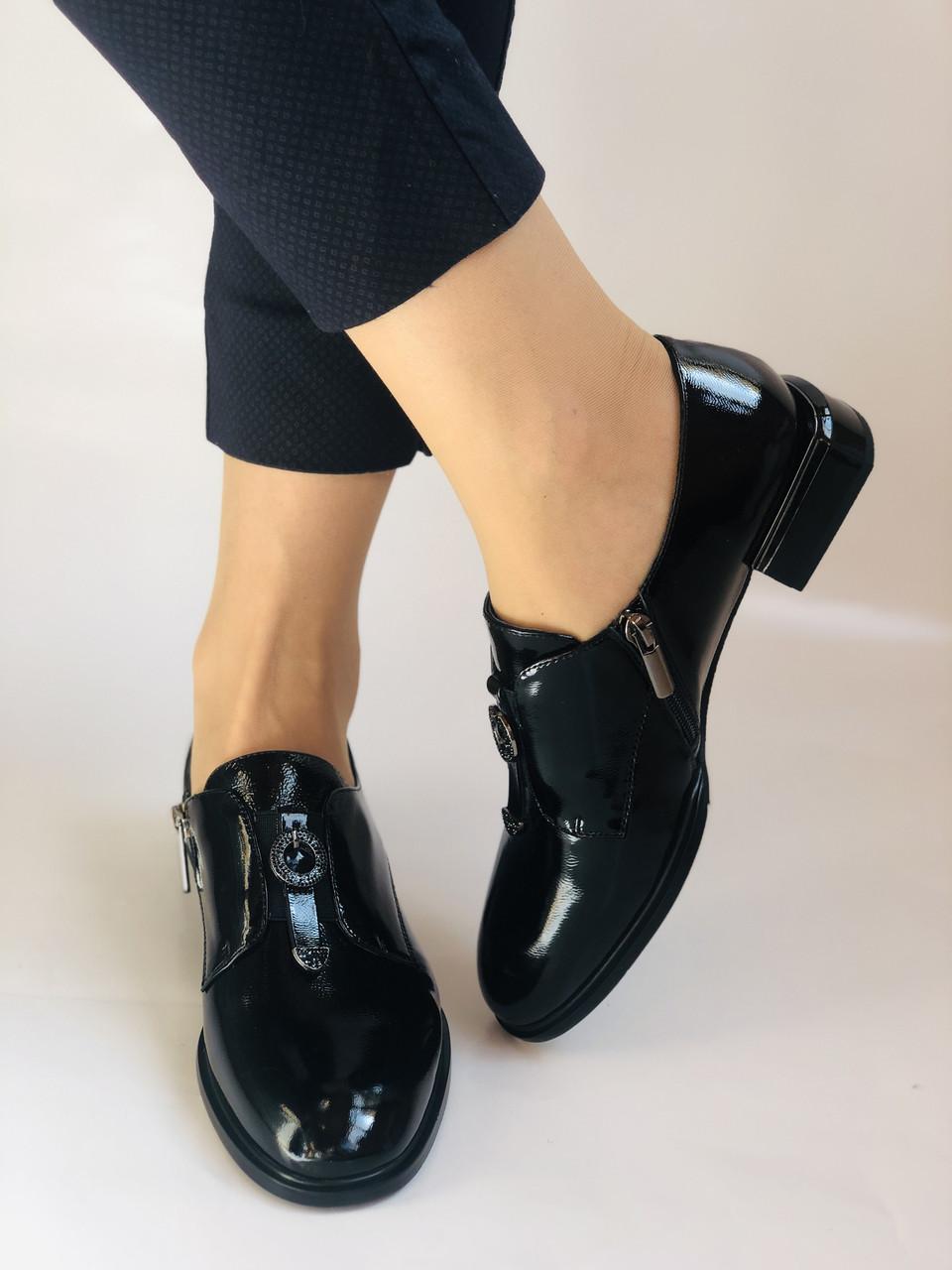 Стильні жіночі туфлі. Висока якість. Натуральна лакована шкіра. Невисокий каблук. Molka 35. 38.40