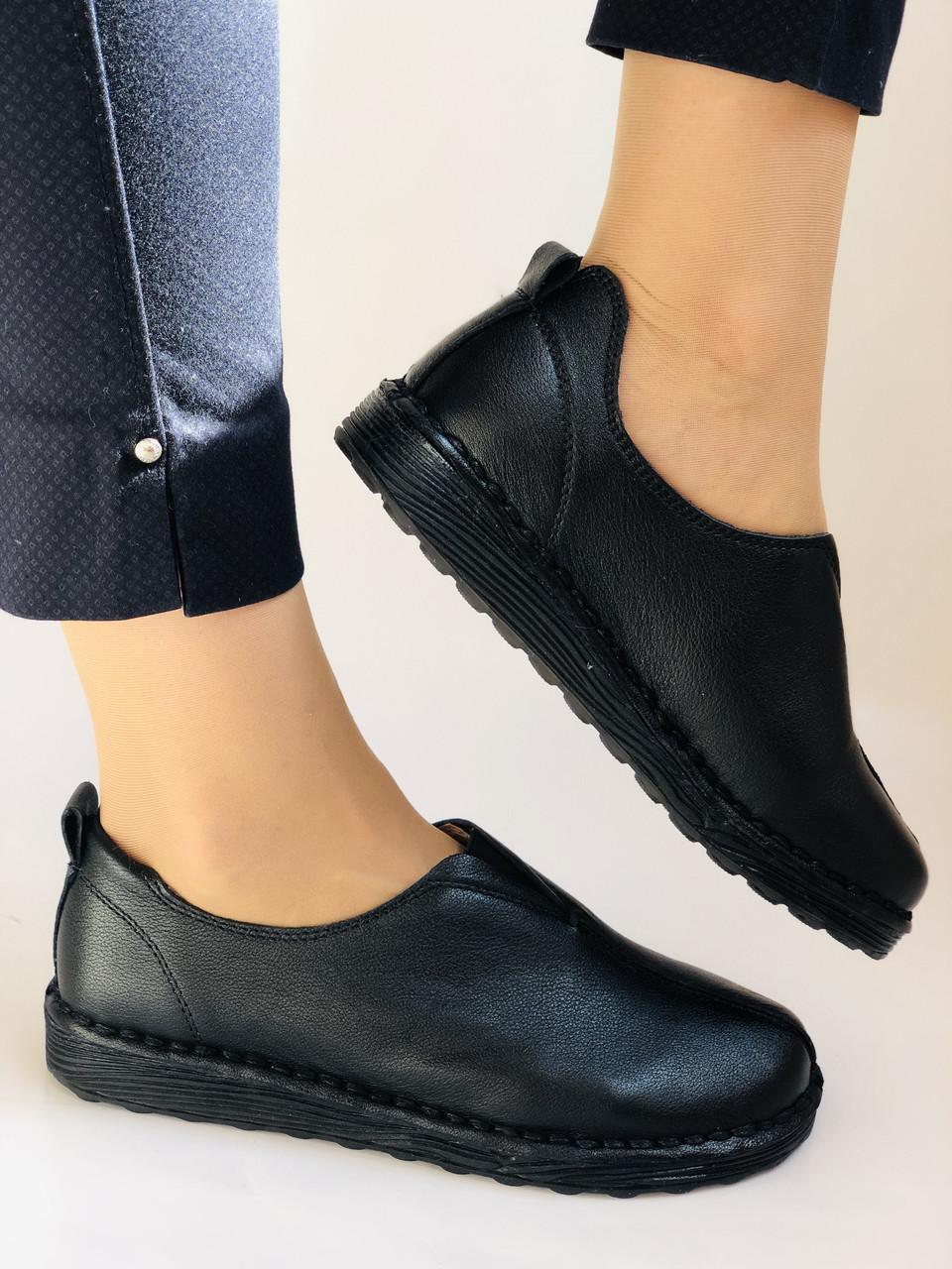 Жіночі осінні туфлі на широку ногу. Натуральна шкіра.Р. 36,38,39,40.Супер комфорт Vellena