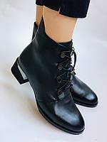 Erisses. Жіночі осінні ботинки з натуральної шкіри на середньому каблуці на вузьку ногу. Розмір 35.36.37.39.40, фото 3