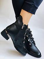 Erisses. Жіночі осінні ботинки з натуральної шкіри на середньому каблуці на вузьку ногу. Розмір 35.36.37.39.40, фото 2