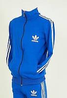 Качественная мужская кофта спортивная в синем цвете рукава в полоску