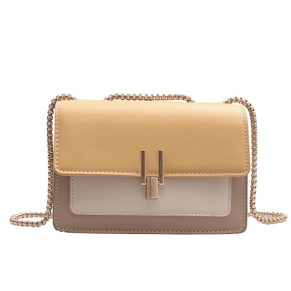 Жіноча класична сумочка на три відділи на товстій ланцюжку клатч жіночий жовтий 14х20х8 см