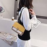 Женская классическая сумочка на три отдела на толстой цепочке клатч женский желтый, фото 2