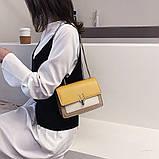 Женская классическая сумочка на три отдела на толстой цепочке клатч женский желтый, фото 3