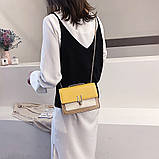 Женская классическая сумочка на три отдела на толстой цепочке клатч женский желтый, фото 4