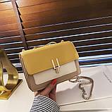 Женская классическая сумочка на три отдела на толстой цепочке клатч женский желтый, фото 5