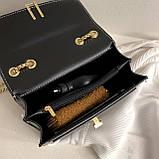 Женская классическая сумочка на три отдела на толстой цепочке клатч женский желтый, фото 7