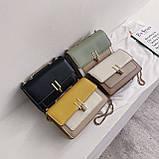 Женская классическая сумочка на три отдела на толстой цепочке клатч женский желтый, фото 10