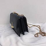 Женская классическая сумочка на три отдела на толстой цепочке клатч женский желтый, фото 8