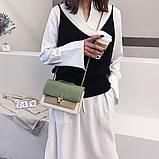 Женская классическая сумочка на три отдела на толстой цепочке клатч женский зеленый, фото 4