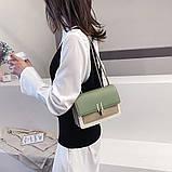 Женская классическая сумочка на три отдела на толстой цепочке клатч женский зеленый, фото 2
