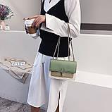 Женская классическая сумочка на три отдела на толстой цепочке клатч женский зеленый, фото 6