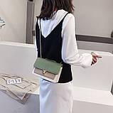 Женская классическая сумочка на три отдела на толстой цепочке клатч женский зеленый, фото 5