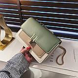 Женская классическая сумочка на три отдела на толстой цепочке клатч женский зеленый, фото 3