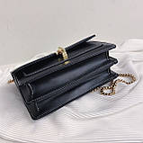 Женская классическая сумочка на три отдела на толстой цепочке клатч женский зеленый, фото 9