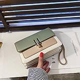 Женская классическая сумочка на три отдела на толстой цепочке клатч женский зеленый, фото 7