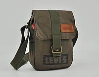 Мужская текстильная сумка Levi's через плечо LEVIS 23*17 см, оливковый