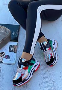 Кросівки жіночі 6 пар в ящику сріблястого кольору 36-40