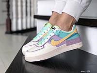 Женские кроссовки Nike Air Force,бежевые с мятным, фото 1
