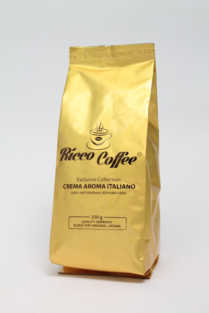 Кофе в зернах Ricco Coffee Crema Aroma Italiano  80% Арабика и 20% Робуста  250 г